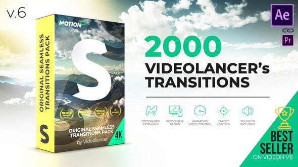 Videolancer's Transitions – Original Seamless Transitions Pack Videohive 18967340 V6 ( Update	20 November 19)
