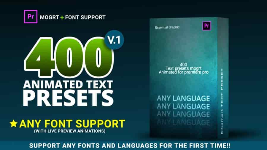 400 Text Preset For Premiere Pro – Any Fonts Motionarray 167261