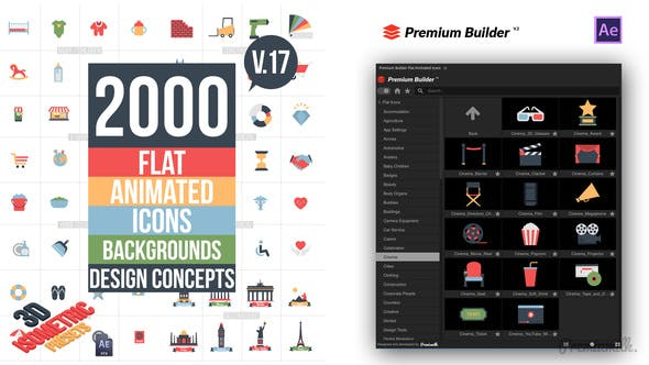 Flat Animated Icons Library Videohive 11453830 V17
