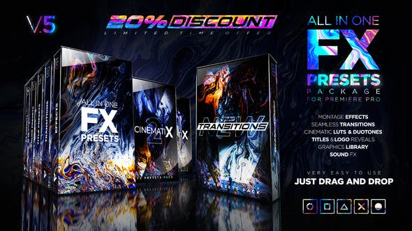 Videohive 24028073 V5 Presets Pack for Premiere Pro: Effects, Transitions, Titles, LUTS, Duotones, Sounds